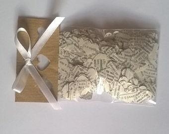 1000 wedding  Confetti paper Hearts , vintage,  books, Romantic Decorations,  wedding favors, cone filler, printed paper hearts