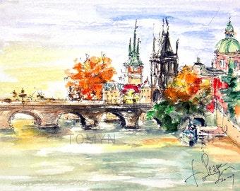 NEW!!! View of the Charles Bridge. Panorama Prague. Print from original watercolor.