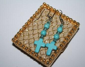 Silvertone Turquoise Earrings Crucifix Handmade. 2 In long