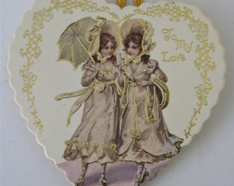 """CLEARANCE, 1976 Merrimack Publishing Corp New York, Vintage Die Cut Victorian Prints Hanging Valentine Card, """"You're Mine, To My Love"""