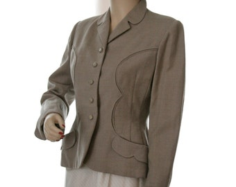 1940's Russeks Ladies Taupe Fitted Blazer, Fashions from Paris and Fifth Avenue, Lucious Vixen, Hollywood Bombshell, Wonderful Condition!