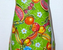 Handmade Oilcloth Bib Cook's Apron Mexican PVC Washable Fabric Sturdy Satin Ribbon Straps Tropical Fruit