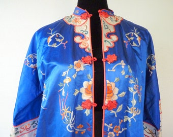 Royal Blue Silk Robe Etsy