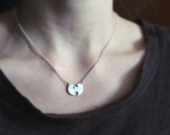 Wu Tang necklace, wu tang clan, sterling silver necklace, bat necklace