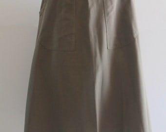 60's Vintage R.C. Quinn Military Green A-Line Warp Apron Circle Skirt