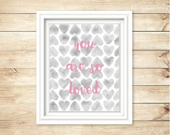 Grey + Pink Nursery Decor | You Are So Loved | Wall Hanging