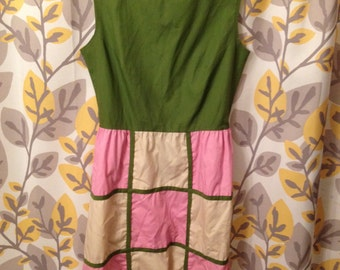 Retro 1960s Style Dress Mad Men Green Pink Checkers Medium / Large