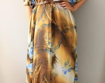 Printed Silk Dress/ long Silk dress/Brown silk Dress/ Oversized silk dress/ Silk Maxi Dress