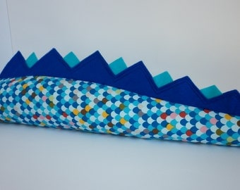 Dinosaur / Dragon tail blue multi scale with purple and turquoise fin.  Kids dress up dino / monster /lizard / crocodile tail.