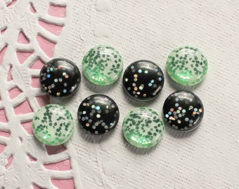 8 Pcs Green and Black Round Embedded Glitter Circle Cabochons - 15x15mm