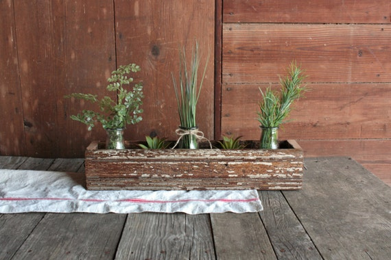 Items similar to repurposed wood crate table trough