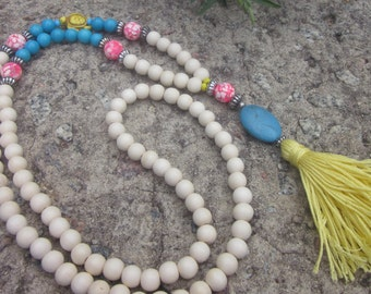 long beaded tassel necklace yellow tassel necklace sea turtle white wooden beads turquoise necklace Lavish Lucy Designs bohemian necklace