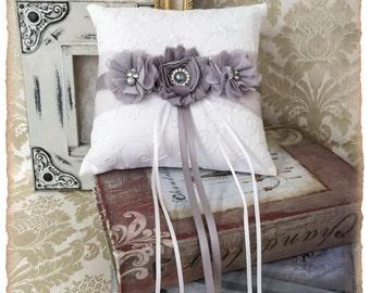 Wedding Ring Bearer Pillow, Wedding Ring Pillow, Gray Wedding Pillow, Grey Wedding Accessories