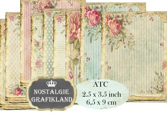 Shabby Chic Background ATC Aceo Decoupage Pastel Victorian Instant Download printable  digital collage sheet S154