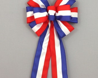 Patriotic Stripe Bow 4th of July Decoration Red White Blue Wreath Bows