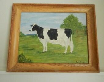 Folk Art Original Oil Cow Painting - Mid Century Country Cow Painting - Original Painting by Betty Krambs - 1960s Folk Art Cow Oil Painting