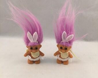 Vintage Russ Troll Easter Bunny Babies, Set of 2