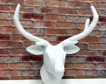 Paper Mache Deer Head/White Faux Taxidermy/SSLID0166/Paper Mache Deer/White Deer/Nursery/Animal Head/Wall Mount/Wall Decor/Antlers