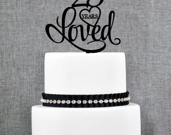 25 Years Loved Birthday Cake Topper, Elegant 25th Cake Topper 25th Anniversary Cake Topper- (T244-25)