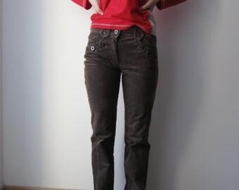 Women's Corduroy Pants High Waist Pants Brown Blue Corduroy Trousers Small Size Everyday Pants