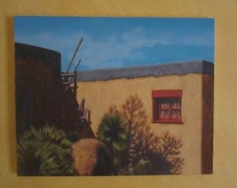 Red Window New Mexico original acrylic painting