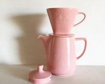 Vintage Melitta Coffee Pot and Filter Set, 1950's, Pink Ceramic Coffee Set, Retro Kitchen