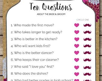 Mason Jar Ten Questions Bridal Shower & Wedding Game