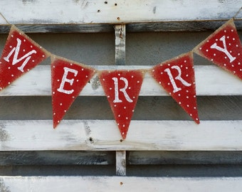 Hand Painted Merry Burlap Banner, Christmas Banner, Holiday Decor, Rustic Winter Decor, Holiday Photo Prop