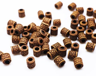 Ethnic Flower Tube Bead, Bohemian Floral Bead, BOHO Tribal Pattern Style, Wood-looking, Accessories DIY Craft, Small Tube Bead, 7mm, 50pcs