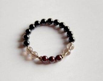 Genuine Garnet, Smokey Quartz & Black Onyx Sterling Silver Bracelet ~ Protection and Success