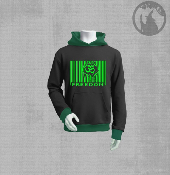 Men Hoodie With Barcode Neon Vinyl Print Psy Clothing By