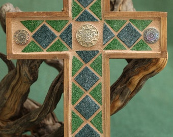 Southwest Mosaic Cross~Mosaic Cross~Green Cross~Blue Cross~Southwest Cross~Wall Cross~Southwest Decor~Housewarming Gift~Christian Decor