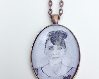 Kathleen Hanna Illustration Pendant Necklace