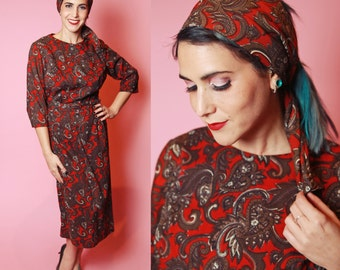 1960's Wool Paisley Belted Dress with Scarf