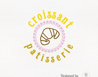 Bakery logo croissant and dots, colorful logo, bakery branding business