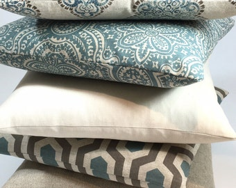 Decorative Pillow Covers, Blue, Tan , Brown, Beige, White, Cream, Floral, Euro, Throw, Accent, Pillow, Pillows, Pillowcases