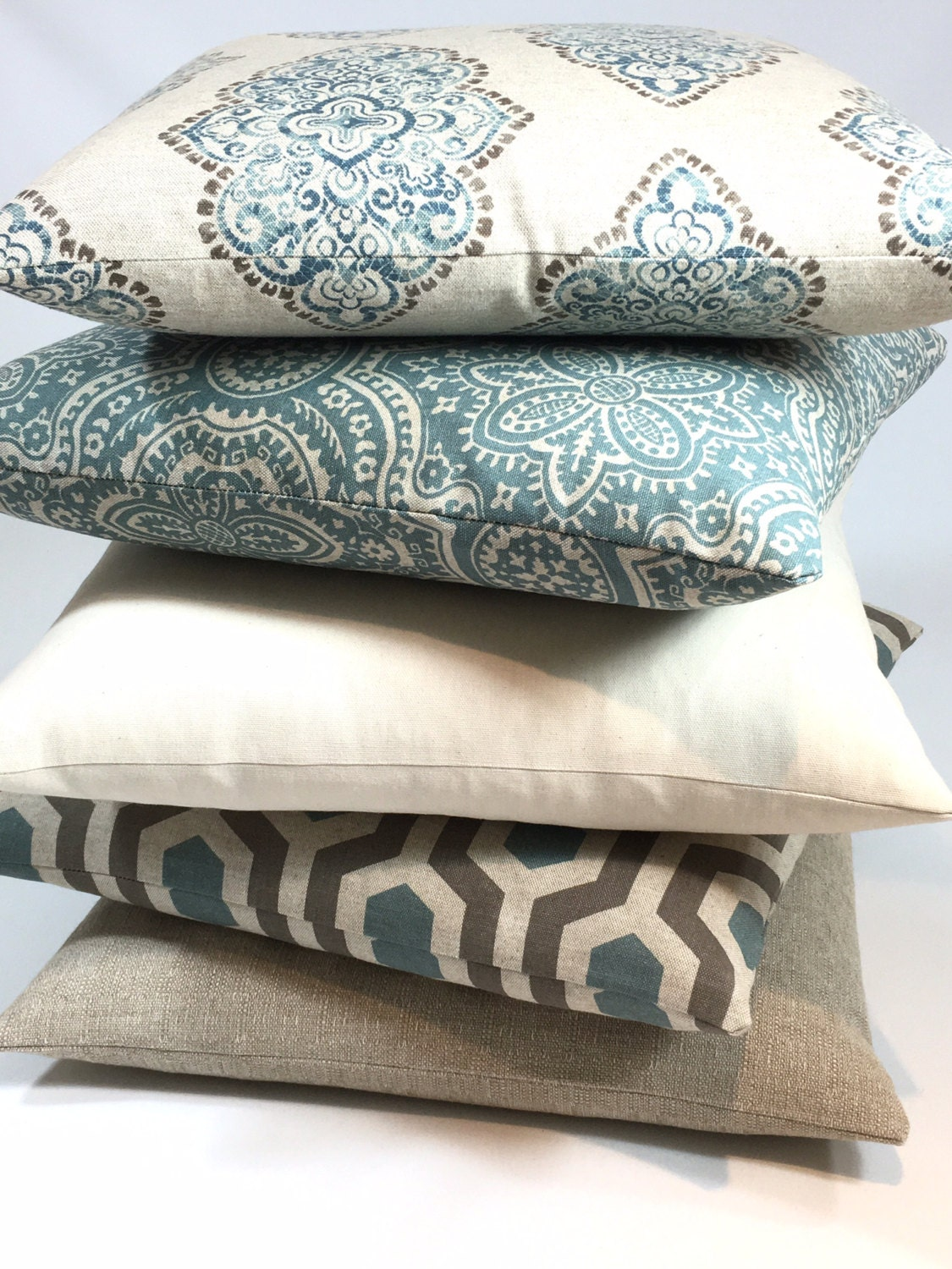 decorative pillow covers blue tan brown beige white. Black Bedroom Furniture Sets. Home Design Ideas