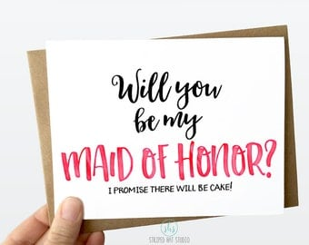 Will you be my Maid of Honor? Funny bridesmaid card, Bridesmaid Ask Card, Bridesmaid Card, Bridesmaid Proposal,Matron of Honor
