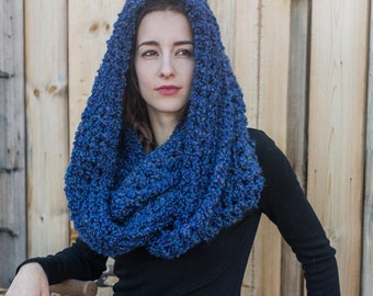 Infinity Cowl Scarf // Vegan Infinity Scarf // Holiday Gifts // Oversize Loop Scarf // THE MADELEINE shown in Cobalt