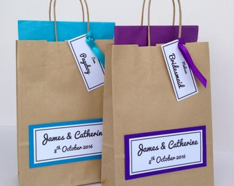 Brown Kraft Personalised Wedding Favour Gift Bag with Tag