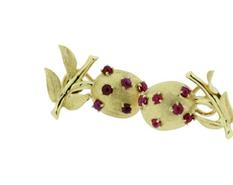 18K Gold Fruit Earrings with Rubies