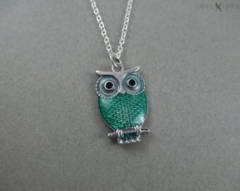 Silver Green Owl Pendant