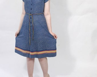 Vintage cotton dress Blue square print Striped Matching belt Short sleeve Flared skirt Knee length dress Size Small
