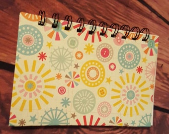 Colorful spiral bound notebook 4x6 inches with 50 blank white pages