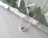 Sterling Silver, Amethyst Necklace, Simple Stone, Necklace, February Birthstone, Round Amethyst, February Necklace, Purple Amethyst, Genuine