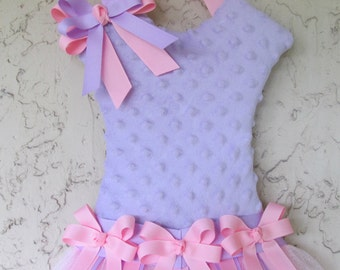 Hair Bow Holder Tutu Lavender Minky with Pink