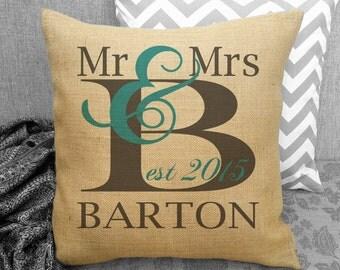 Personalized Monogram Mr & Mrs Burlap Wedding Pillow - Wedding Gift, Anniversary Gift