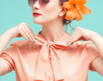 Romper/ Playsuit Bergamote ,ON SALE 50%OFF!  bow collar blouse, coral gingham, bloomers bottom, light orange, lounge, beach wear