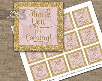 Pink Favor Tags - Printable Thank You For Coming Tags - Pink Gold Favor Tags - Baby Shower Bridal Shower Birthday Decor - PHD