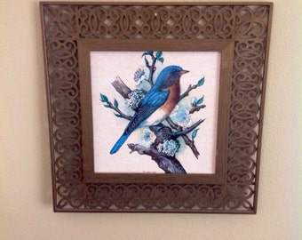 Vintage bird picture, ornate fencing type frame, square shape